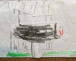 Child's drawing of a tapir